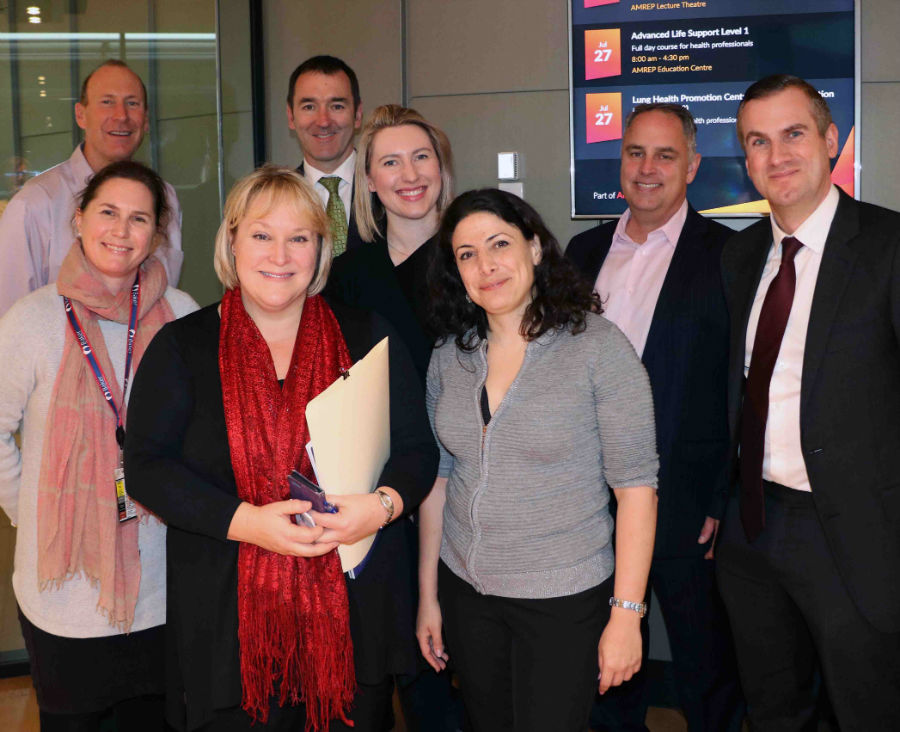 Pictured visiting AMREP recently are L-R: Guy Krippner and Tracey Ellis, Baker Heart & Diabetes Institute; Renee Dutton, AMREP, Brendan Flynn, Lucy Dalton and Sky Gross, Melbourne Biomedical precinct; Nathan Elia, State Government of Victoria and Scott Edwards, Melbourne Biomedical Precinct.